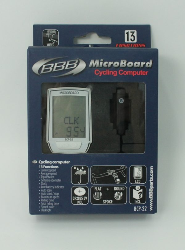 Велокомпьютер BBB BCP-22 MicroBoard Wired 13F white